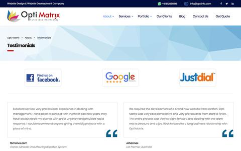 Screenshot of Testimonials Page optiinfo.com - Web Design & Development Company Reviews | Optimatrix Solutions | Opti Matrix - captured Sept. 23, 2018