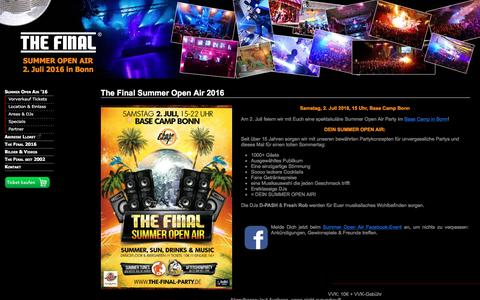 Screenshot of Home Page the-final-party.de - The Final Party - Summer Open Air 2016 @ Base Camp Bonn - captured June 9, 2016