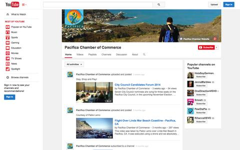 Screenshot of YouTube Page youtube.com - Pacifica Chamber of Commerce  - YouTube - captured Oct. 22, 2014