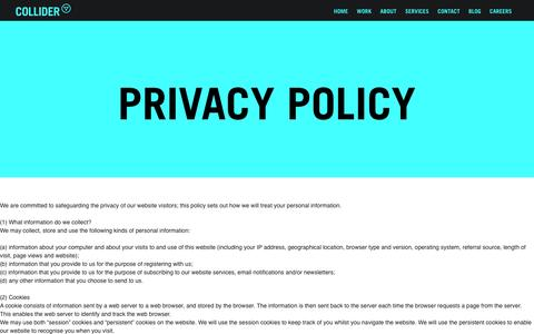 Screenshot of Privacy Page wearecollider.com - Privacy Policy | Collider Agency London - captured Jan. 10, 2016