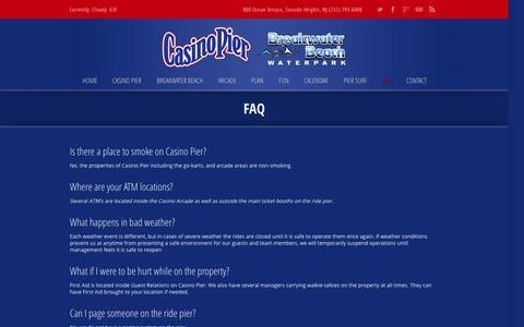 Screenshot of FAQ Page casinopiernj.com - FAQ › Casino Pier | Breakwater Beach ‹ Casino Pier | Breakwater Beach - captured Oct. 2, 2014