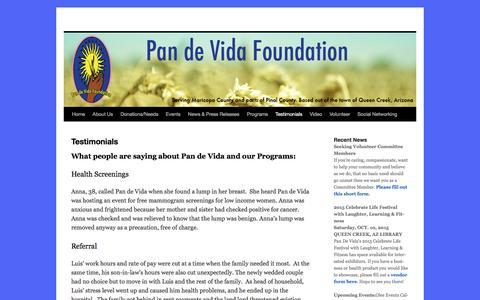 Screenshot of Testimonials Page pandevidaaz.org - Testimonials - - captured Oct. 20, 2016