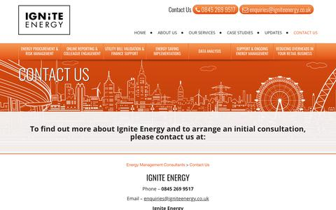 Screenshot of Contact Page igniteenergy.co.uk - Contact Us at Ignite Energy - captured Oct. 1, 2018