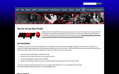 Screenshot of Jobs Page missionstartpodcast.com - Jobs - Mission Start Podcast - Fan based opinions, news and reviews on video games and anime - captured Oct. 26, 2014