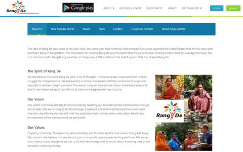Screenshot of About Page rangde.org - Rang De - About - captured Sept. 23, 2014