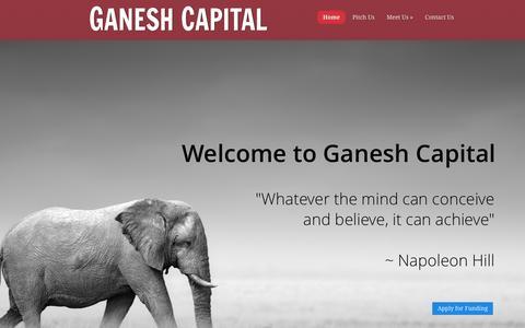 Screenshot of Home Page ganeshcapital.com - Ganesh Capital | - captured Dec. 7, 2015