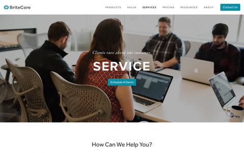 Screenshot of Services Page britecore.com - Services — BriteCore - captured Feb. 15, 2019
