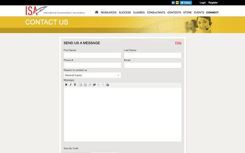 Screenshot of Contact Page networkisa.org - International Screenwriters' Association - captured Nov. 6, 2016