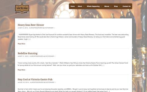 Screenshot of Blog victoriagastropub.com - Blog | Victoria Gastro Pub - captured Oct. 9, 2014