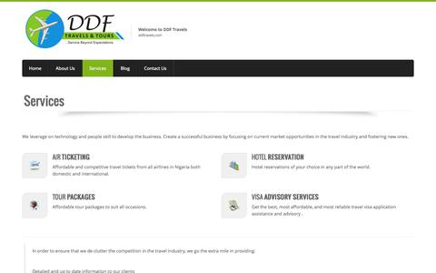 Screenshot of Services Page ddftravels.com - Air Ticketing Agency in Nigeria | DDF - captured Oct. 5, 2014