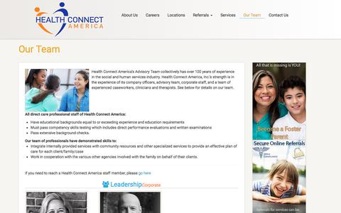Screenshot of Team Page healthconnectamerica.com - Our Team | Health Connect America - captured July 17, 2018