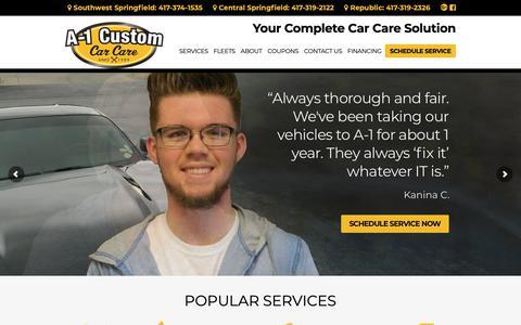 Screenshot of Home Page a-1customautorepair.com - Welcome To A-1 Custom Car Care - captured Oct. 1, 2018