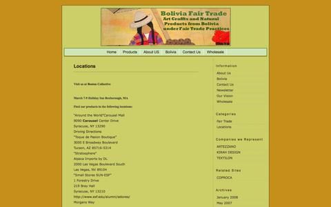 Screenshot of Locations Page boliviafairtrade.com - Bolivia Fair Trade » Locations - captured Sept. 30, 2014