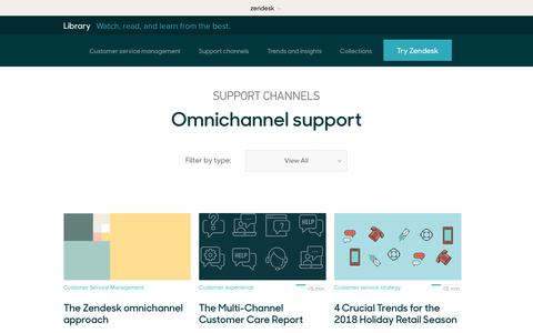 Screenshot of Support Page zendesk.com - Omnichannel support | Zendesk Library - captured Aug. 4, 2018