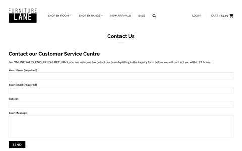 Screenshot of Contact Page furniturelane.co.uk - Contact Us - Furniture Lane - captured Sept. 2, 2018