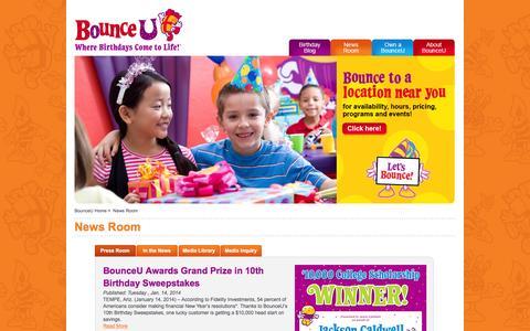Screenshot of Press Page bounceu.com - BounceU | News Room - captured Jan. 7, 2016