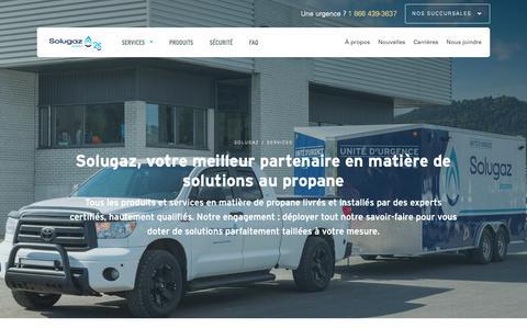 Screenshot of Services Page solugaz.com - Services complets de propane - résidentiel, commercial et industriel, agricole, autopropane | Solugaz - captured Oct. 19, 2018