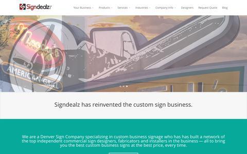 Screenshot of Home Page signdealz.com - Signdealz - Denver Sign Company - Custom Business Signs - captured Sept. 16, 2015