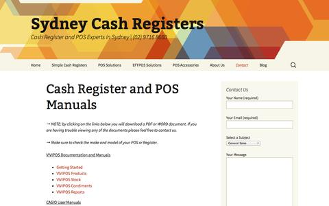 Screenshot of Support Page sydcash.com - Cash Register and POS Manuals | Sydney Cash Registers - captured Oct. 6, 2014