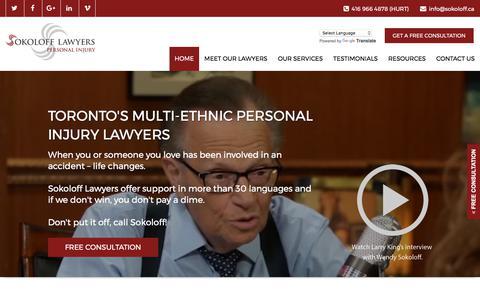 Screenshot of Home Page sokoloff.ca - Personal Injury Lawyers Toronto | Sokoloff Lawyers | 416.966.4878 - captured Nov. 5, 2017