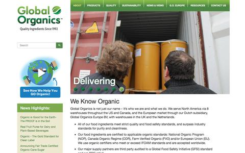 Screenshot of About Page global-organics.com - About Global Organics - Certified Food Ingredients - Fair Trade Products - captured Jan. 27, 2018