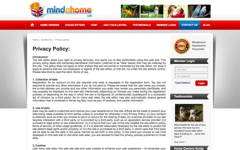 Screenshot of Privacy Page mindahome.co.uk - Privacy policy | British House Sitters Directory - captured March 14, 2016
