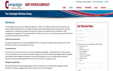 Screenshot of About Page thecampaignsolutionsgroup.com - The Campaign Solutions Group - The Campaign Solutions Group - captured Feb. 24, 2016
