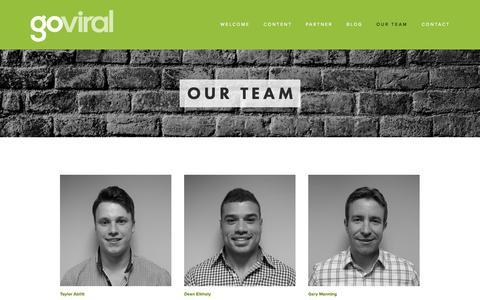 Screenshot of Team Page goviralinc.com - Our Team — GoViral Inc. - captured Sept. 30, 2014