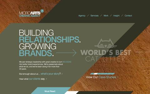 Screenshot of Home Page microarts.com - Brand Launch Agency - MicroArts Creative Agency - captured Oct. 6, 2014