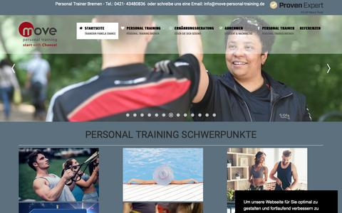 Screenshot of Home Page move-personal-training.de - Personal Trainer Bremen Pamela Chance bewegt Sie - captured Oct. 30, 2018