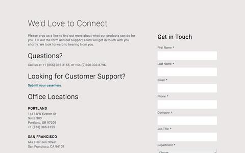 Screenshot of Contact Page urbanairship.com - Contact | Urban Airship - captured Feb. 23, 2017