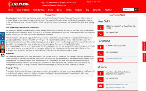 Screenshot of Privacy Page livevaastu.com - Livevaastu.com | Vastu personal information | Disclaimer | Copyright Policy - captured May 21, 2017