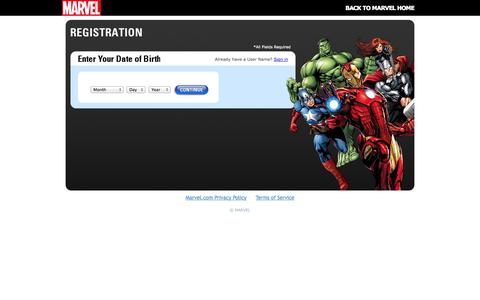 Screenshot of Signup Page marvel.com - Marvel.com User Registration | Marvel.com - captured Sept. 18, 2014