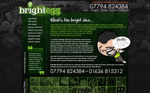 Screenshot of About Page Services Page Site Map Page Testimonials Page brightegg.co.uk - Brightegg Graphic Design Solutions, Identity and Branding, Web Design, Graphic Design in Southwell, Nottinghamshire, UK - captured Oct. 23, 2014