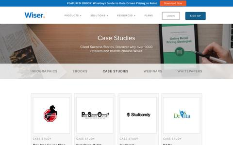 Screenshot of Case Studies Page wiser.com - Wiser Success Stories | Case Studies - captured Nov. 21, 2016