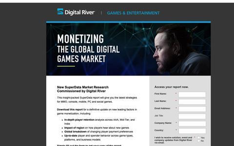 Screenshot of Landing Page digitalriver.com - Monetizing Digital Games   Monetize Games Whitepaper - captured Oct. 4, 2018