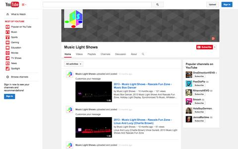 Screenshot of YouTube Page youtube.com - Music Light Shows  - YouTube - captured Oct. 23, 2014