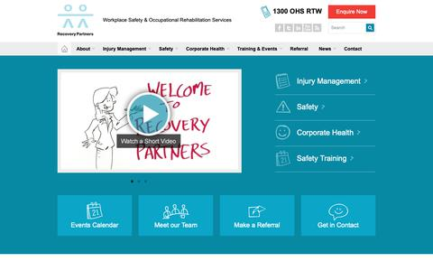 Screenshot of Home Page rrp.com.au - Recovery Partners - WHS Services | OHS Services | RTW Services | Workers Compensation | Injury Management | WHS Training Provider | OHS Training Provider - captured Oct. 13, 2018