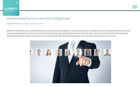 Screenshot of Services Page elementsgs.com - Elements Global Services vs Elements Holdings Group - captured Jan. 20, 2020