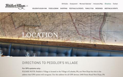 Screenshot of Maps & Directions Page peddlersvillage.com - Peddlers Village Location - captured July 16, 2018