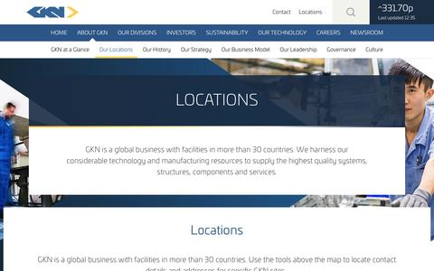 Screenshot of Locations Page gkn.com - Our Locations - captured Dec. 31, 2016