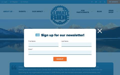 Screenshot of Testimonials Page climateride.org - Testimonials Archive - Climate Ride - captured Nov. 11, 2019