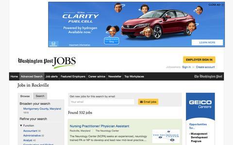 Screenshot of Jobs Page washingtonpost.com - Jobs in Rockville - captured Feb. 14, 2017
