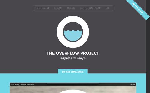 Screenshot of Home Page overflowproject.org - The Overflow Project - captured Oct. 9, 2014
