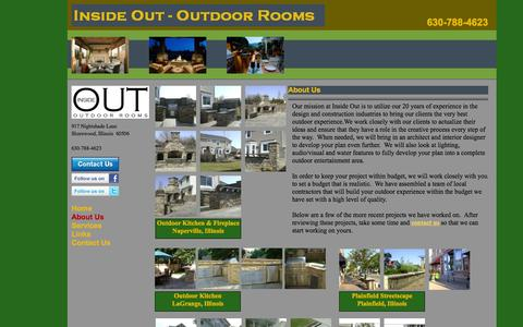 Screenshot of About Page insideoutrooms.net - Inside Out Outdoor Rooms | Outdoor Kitchen, Outdoor Entertainment, Landscaping, Patio and Deck Design and Construction Images - captured Oct. 6, 2014