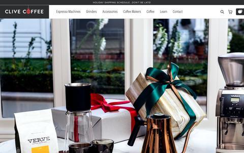 Screenshot of Home Page clivecoffee.com - Clive Coffee - Beautiful Espresso at Home - captured Dec. 19, 2018