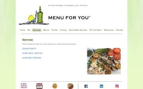 Screenshot of Services Page menuforyouinc.com - Services – Menu For You inc - captured Sept. 20, 2018