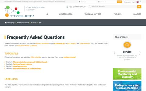 Screenshot of FAQ Page triskem-international.com - TrisKem International - Reagents for environmental monitoring, bioassay, geochemistry, radiopharmacy and decommissioning - captured Sept. 30, 2018
