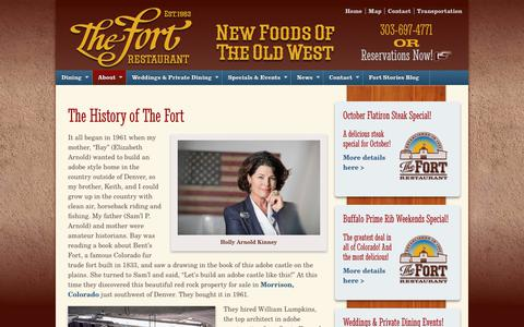 Screenshot of About Page thefort.com - The History of The Fort - The Fort Restaurant - captured Oct. 11, 2018