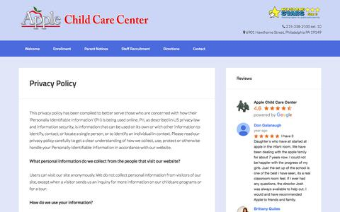 Screenshot of Privacy Page applechildcare.org - Privacy Policy - Apple Child Care Center - captured Oct. 8, 2017